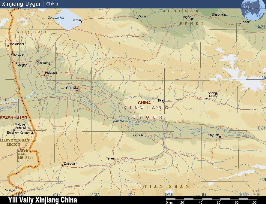新疆伊犁河谷地形图