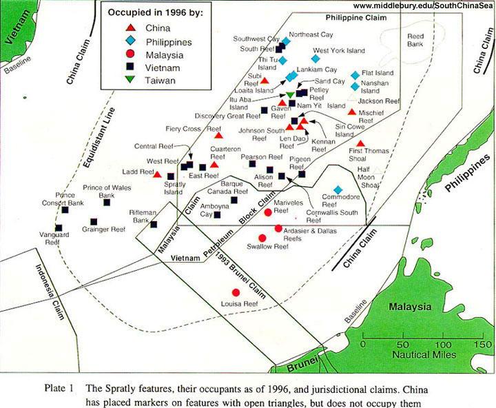 南沙群岛地图——目前被占领情;